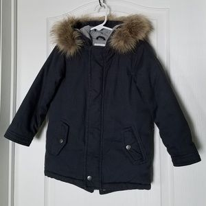 Old Navy faux fur hood navy blue winter jacket